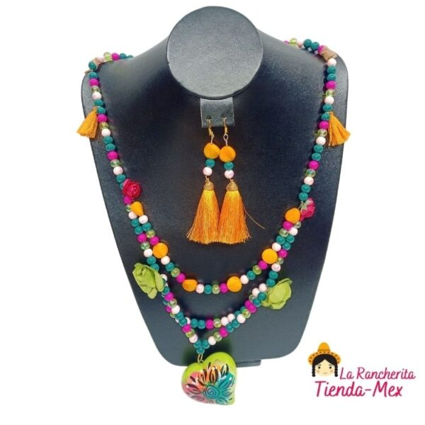Collar y Aretes Corazon Alebrije   Tienda Mex