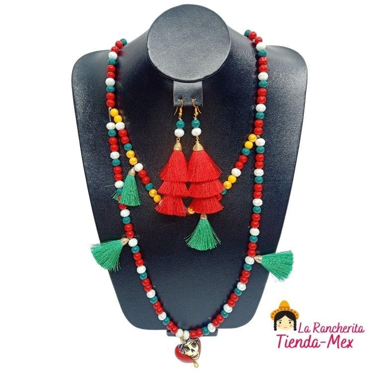 Collar y Aretes Pompones Catrina | Tienda Mex