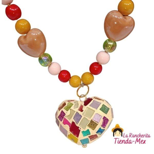 Collar y Aretes Corazon Arcoiris | Tienda Mex