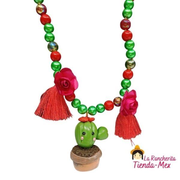 Collar y Aretes, Cactus Feliz | Tienda Mex